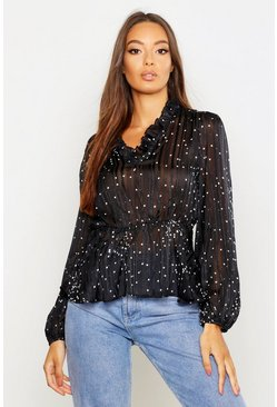 Womens Black Metallic Polka Dot Peplum Blouse