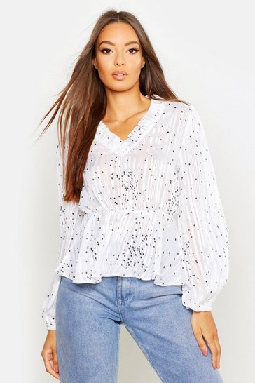 Womens White Metallic Polka Dot Peplum Blouse