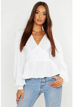 Womens White Woven Oversized Sleeve Peplum Blouse
