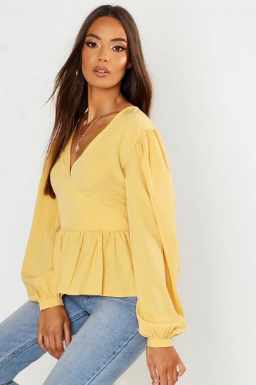Womens Yellow Woven Oversized Sleeve Peplum Blouse