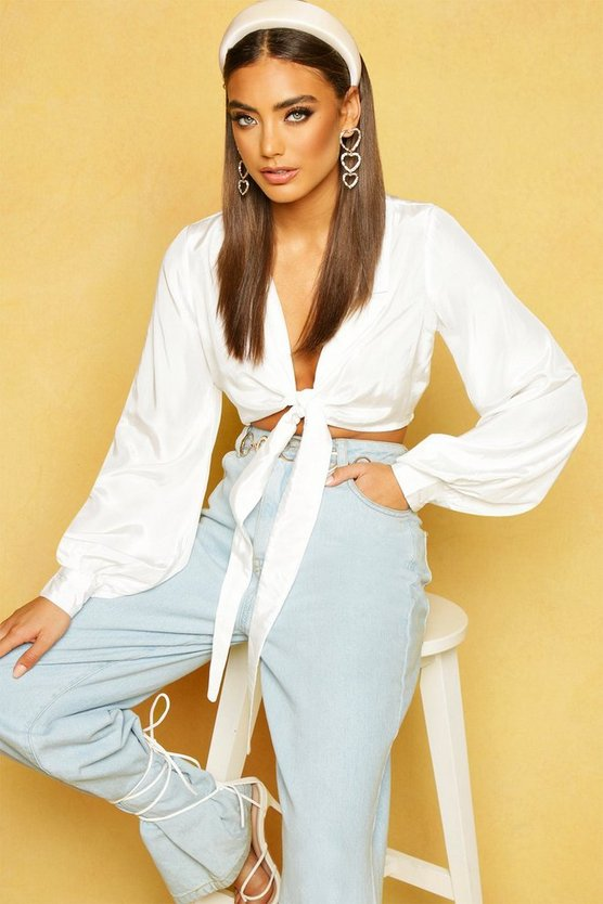 Womens White Woven Tie Front Cropped Shirt