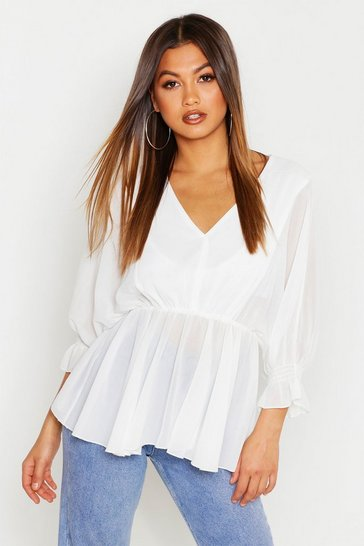 Womens White Chiffon Batwing Peplum Top