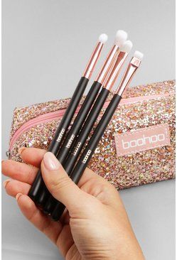 Pink Boohoo Glitter Make Up Bag & Eye Brush Set