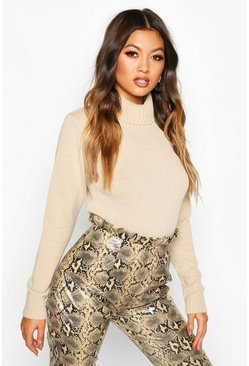 Stone Roll Neck Crop Jumper