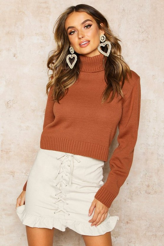 Womens Toffee Roll Neck Crop Jumper