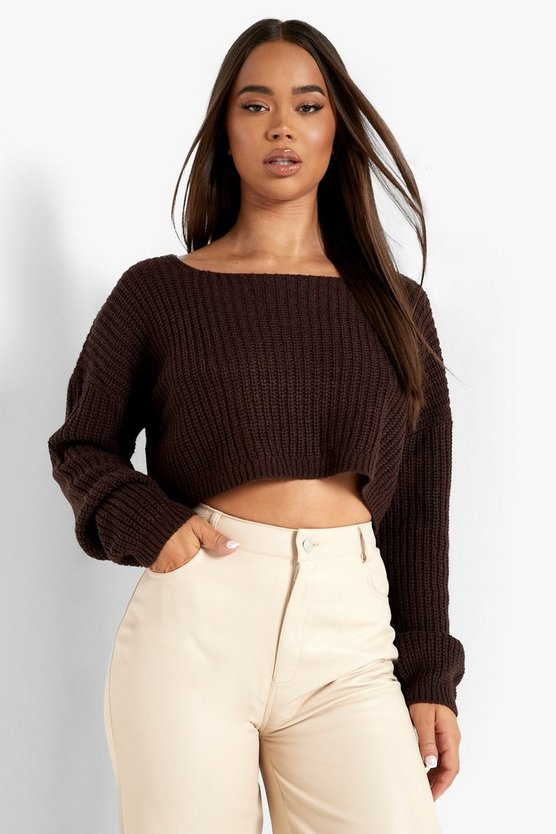 Womens Chocolate V-Back Crop Jumper