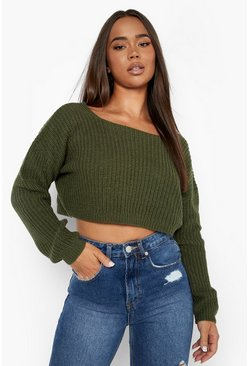 Womens Olive V-Back Crop Jumper