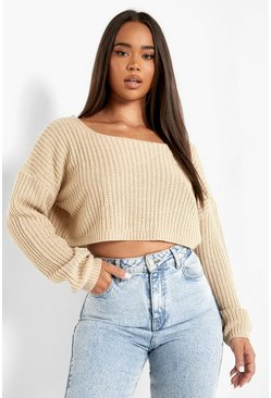 Womens Stone V-Back Crop Jumper