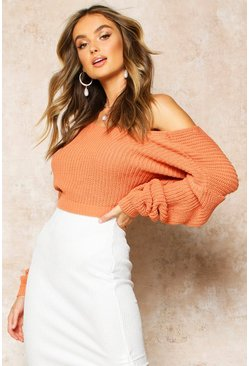 Womens Apricot V-Back Crop Jumper