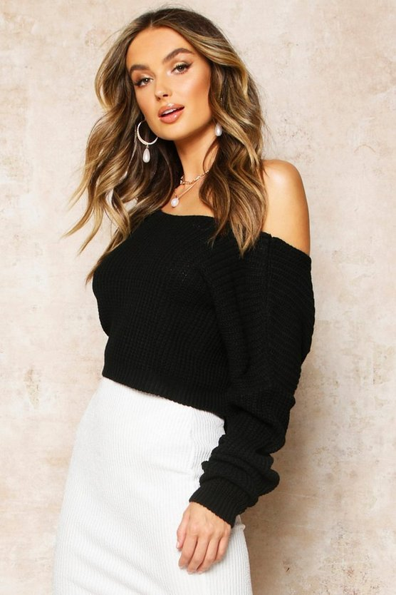 Womens Black V-Back Crop Jumper