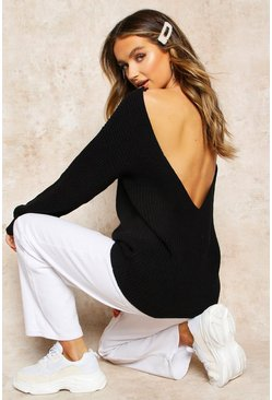 Black V-Back Oversized Jumper