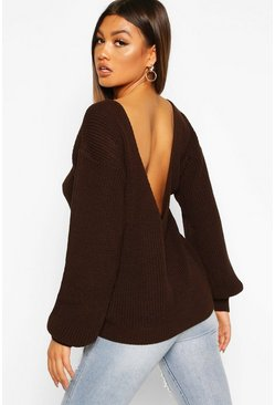 Chocolate V-Back Oversized Jumper