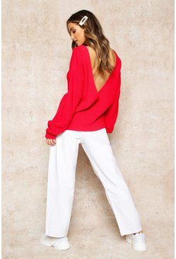 Red V-Back Oversized Jumper