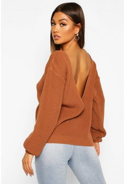 Womens Toffee V-Back Oversized Jumper