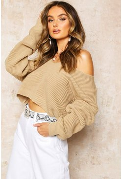 Womens Stone V Neck Fisherman Crop Jumper