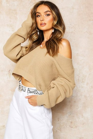 Stone V Neck Fisherman Crop Jumper