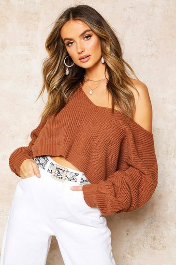 Toffee V Neck Fisherman Crop Jumper