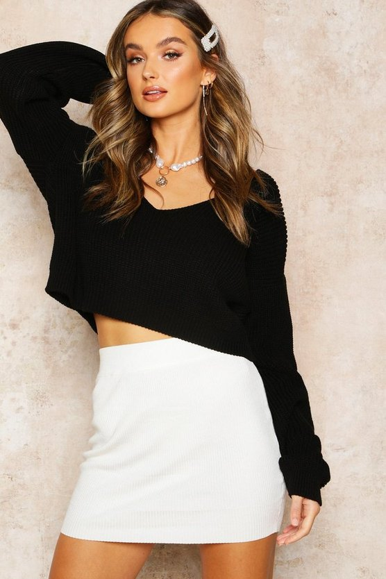 Black V Neck Fisherman Crop Jumper