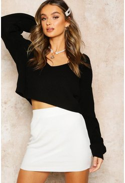 Black V Neck Fisherman Crop Sweater
