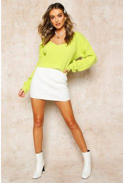Lime V Neck Fisherman Crop Jumper