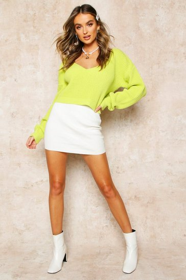 Womens Lime V Neck Fisherman Crop Jumper