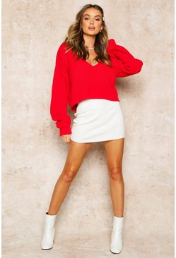 Womens Red V Neck Fisherman Crop Jumper