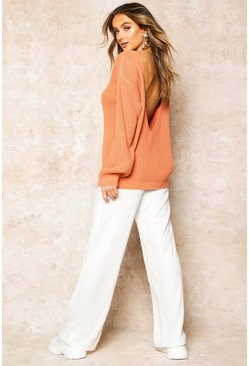 Apricot V-Back Oversized Jumper