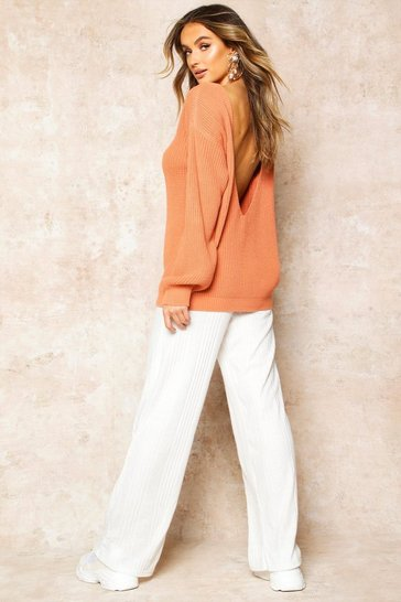 Womens Apricot V-Back Oversized Jumper
