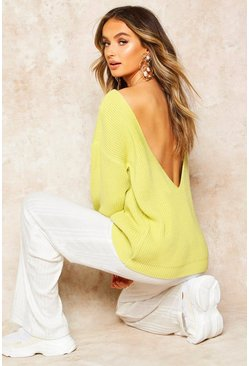 Soft lime V-Back Oversized Sweater
