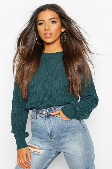 Womens Teal Crop Fisherman Jumper