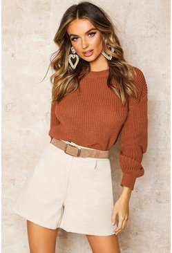Womens Toffee Crop Fisherman Jumper