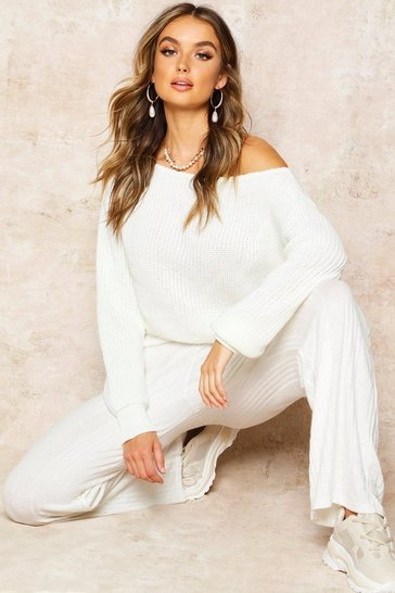 Ecru Slash Neck Crop Fisherman Jumper