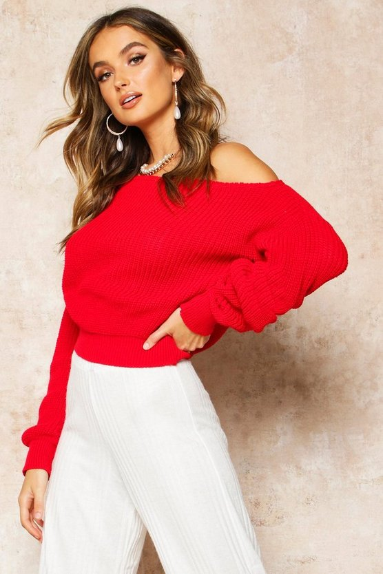 Womens Red Slash Neck Crop Fisherman Jumper