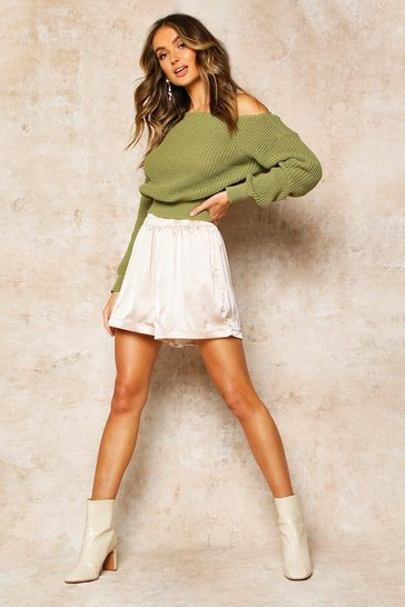 Womens Olive Slash Neck Crop Fisherman Jumper