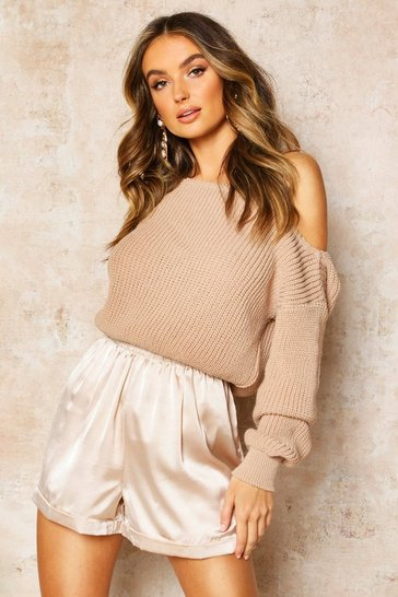 Womens Stone Slash Neck Crop Fisherman Jumper
