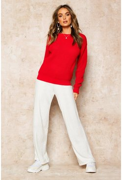 Womens Red Oversized Jumper