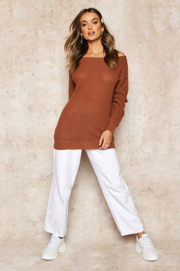 Toffee Slash Neck Fisherman Jumper