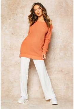Apricot Slash Neck Fisherman Jumper