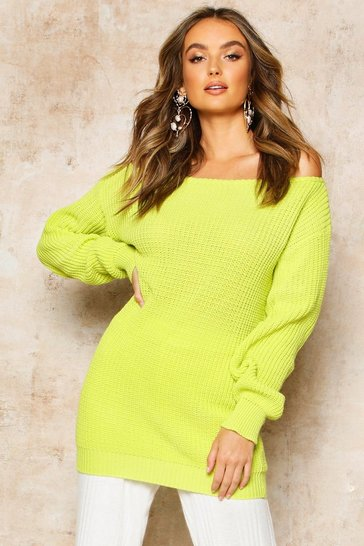 Womens Lime Slash Neck Fisherman Jumper