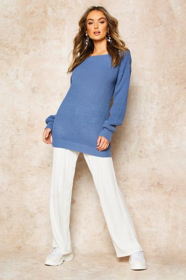 Womens Slate blue Slash Neck Fisherman Jumper