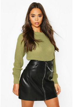 Oversized-Pullover, Olive