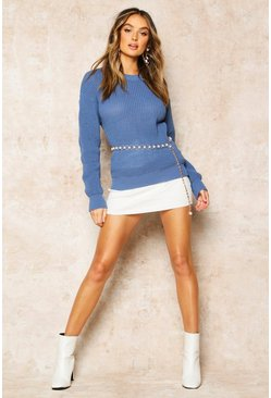 Womens Slate blue Oversized Jumper