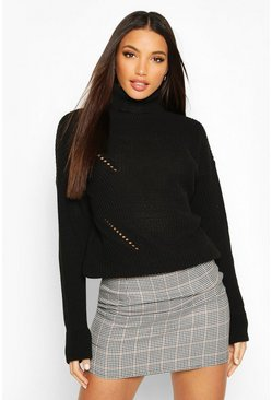 Black Roll Neck Cuff Detail Fisherman Jumper