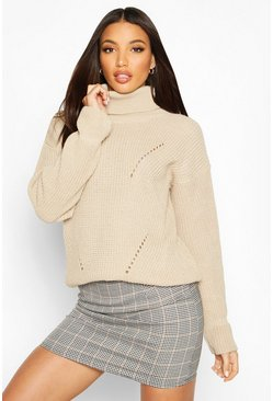 Womens Stone Roll Neck Cuff Detail Fisherman Jumper