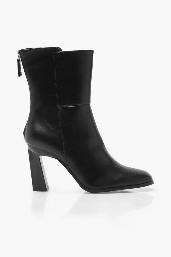 Interest Heel Zip Back Shoe Boots