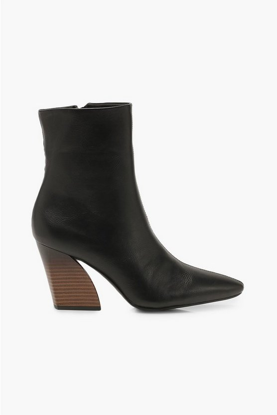 Flared Heel Pointed Toe Shoe Boots