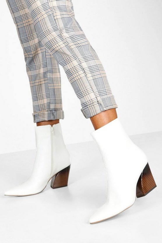 White Flared Heel Pointed Toe Shoe Boots