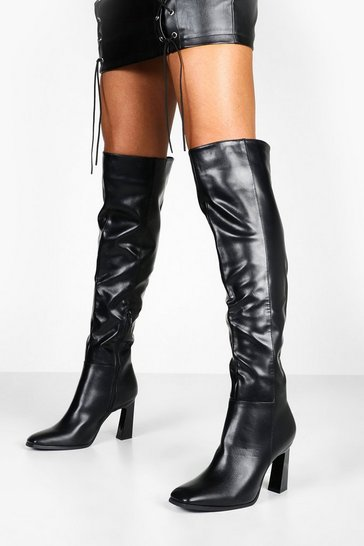 Womens Black Interest Heel Over The Knee Boots