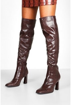 Dam Brown Snake Interest Heel Over The Knee Boots
