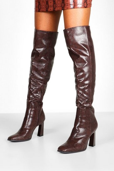 Womens Brown Snake Interest Heel Over The Knee Boots